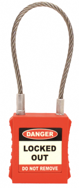 Safety Lockout Tagout Padlock with Wire Shackle